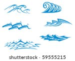 set of wave symbols for design...