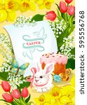 easter holiday and egg hunt...   Shutterstock .eps vector #595556768
