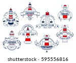 yacht club or seafood bar... | Shutterstock .eps vector #595556816