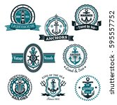 nautical heraldic or marine... | Shutterstock .eps vector #595557752