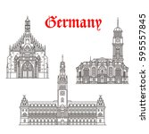germany architecture and german ... | Shutterstock .eps vector #595557845