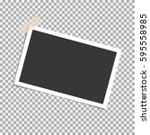 photo frame with sticky tape on ... | Shutterstock .eps vector #595558985