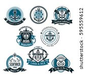 nautical vector icons of marine ... | Shutterstock .eps vector #595559612