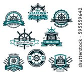 nautical heraldic icons of... | Shutterstock .eps vector #595559642