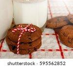milk and cookies. | Shutterstock . vector #595562852