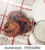 milk and cookies. | Shutterstock . vector #595562882