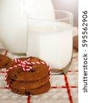 milk and cookies. | Shutterstock . vector #595562906