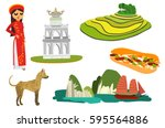 vietnamese icons and landmarks | Shutterstock .eps vector #595564886