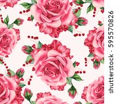 seamless pattern with roses... | Shutterstock . vector #595570826
