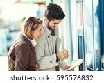 young tourists in the city...   Shutterstock . vector #595576832