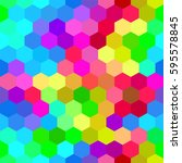 colorful bright hexagons.... | Shutterstock .eps vector #595578845
