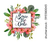 beautiful watercolor bouquet... | Shutterstock . vector #595580045