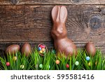 delicious chocolate easter... | Shutterstock . vector #595581416