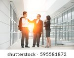 asian business team outdoor | Shutterstock . vector #595581872
