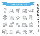data analysis icons  thin line  ... | Shutterstock .eps vector #595581908