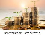 step of golden coins stacks on... | Shutterstock . vector #595589945