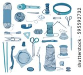 knitting and sewing accessories.... | Shutterstock .eps vector #595592732