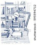 modern interior home library ... | Shutterstock .eps vector #595594712