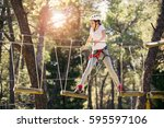 happy school girl enjoying... | Shutterstock . vector #595597106