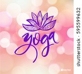 lotus yoga pose. abstract... | Shutterstock .eps vector #595599632