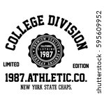 college new york  brooklyn... | Shutterstock .eps vector #595609952