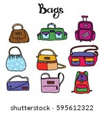set of simple vector bags of... | Shutterstock .eps vector #595612322