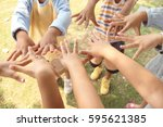 a group of kids with their... | Shutterstock . vector #595621385