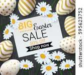 big easter sale background with ... | Shutterstock .eps vector #595623752