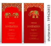 indian invitation card... | Shutterstock .eps vector #595626815