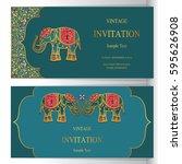 indian  invitation card...   Shutterstock .eps vector #595626908