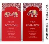 indian invitation card... | Shutterstock .eps vector #595627646