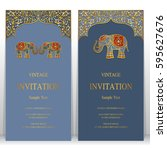 indian invitation card... | Shutterstock .eps vector #595627676