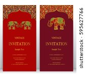 indian invitation card... | Shutterstock .eps vector #595627766