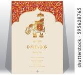 indian invitation card... | Shutterstock .eps vector #595628765