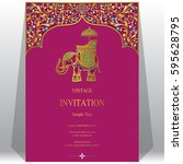 indian invitation card... | Shutterstock .eps vector #595628795