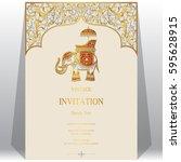 indian invitation card... | Shutterstock .eps vector #595628915