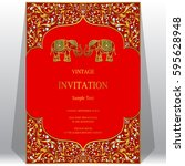 indian invitation card... | Shutterstock .eps vector #595628948