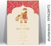 indian invitation card... | Shutterstock .eps vector #595628972