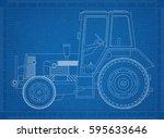 tractor blueprint | Shutterstock . vector #595633646