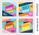 set of colorful trendy sale... | Shutterstock .eps vector #595650902