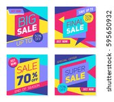 set of colorful trendy sale... | Shutterstock .eps vector #595650932