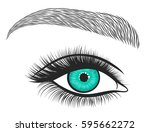 hand drawn bright eyes with... | Shutterstock .eps vector #595662272