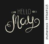 spring lettering   hello may.... | Shutterstock .eps vector #595669115