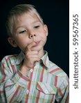 portrait of a pensive boy   Shutterstock . vector #59567365