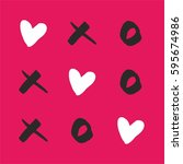 noughts and crosses with love... | Shutterstock .eps vector #595674986