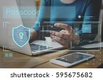 data security system shield...   Shutterstock . vector #595675682