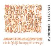 vector alphabet. calligraphic... | Shutterstock .eps vector #595677896