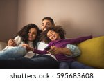 relaxed african american family ... | Shutterstock . vector #595683608