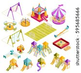 playground isometric collection ... | Shutterstock .eps vector #595685666