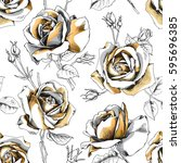 seamless pattern with image of... | Shutterstock .eps vector #595696385